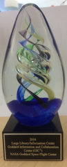 Hand Sculpted Glass Trophy for 2016 Federal Library of the Year Award presented to NASA Goddard Library
